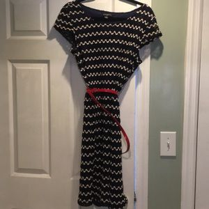 Sharagano size 14 blue and white dress